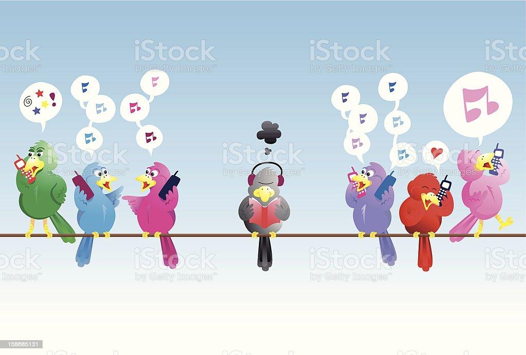 Noisy birds vector art illustration