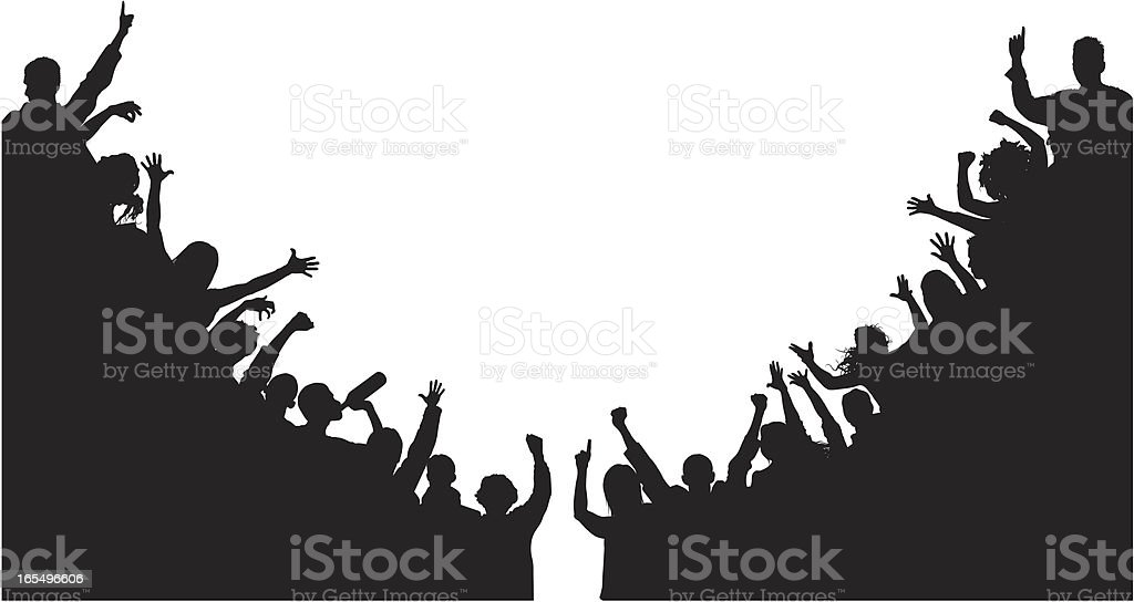Noisy Corner Crowds vector art illustration