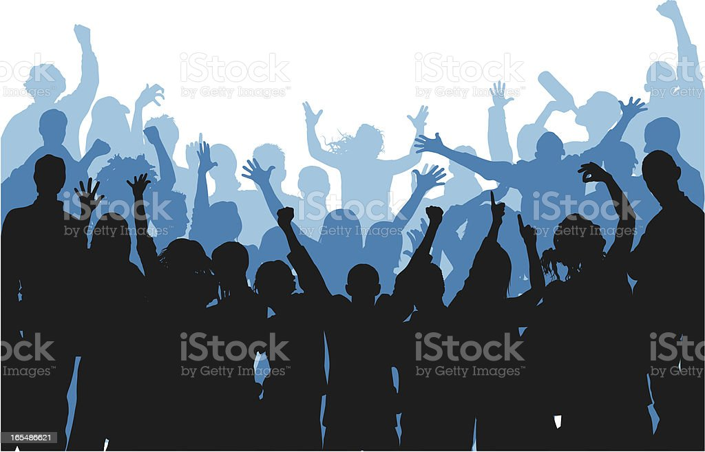 Noisy Curved Blue Crowd vector art illustration