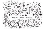 Nollaig Shona Dhuit Christmas Love Line Art Doodle Drawing