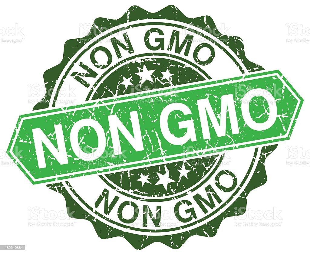 non gmo green round retro style grunge seal vector art illustration