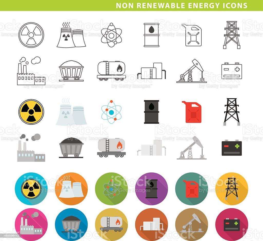 Non renewable energy icons. vector art illustration