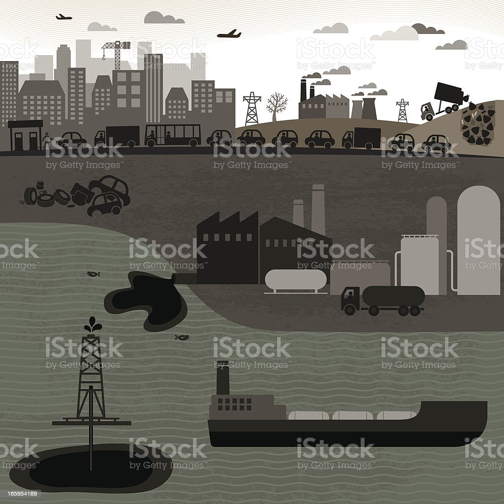 Non-Renewable Industries royalty-free stock vector art