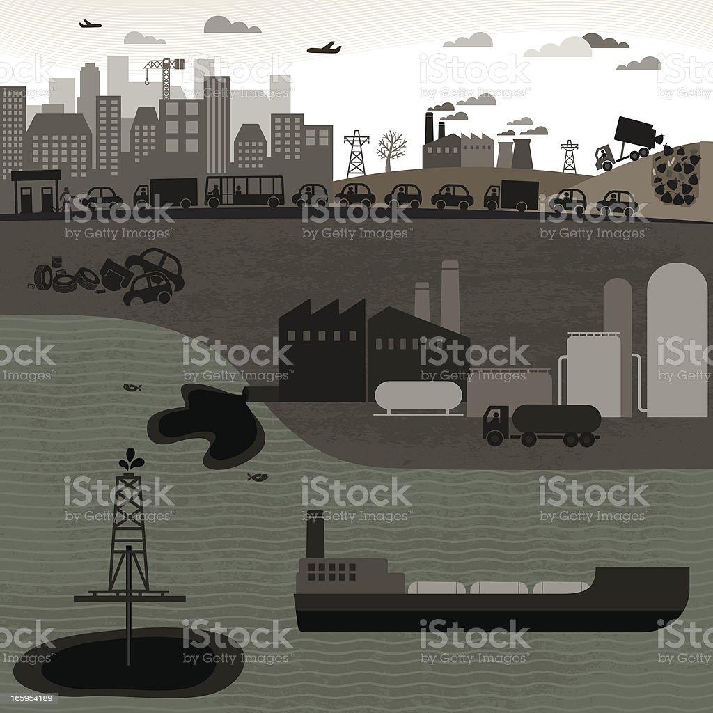 Non-Renewable Industries vector art illustration