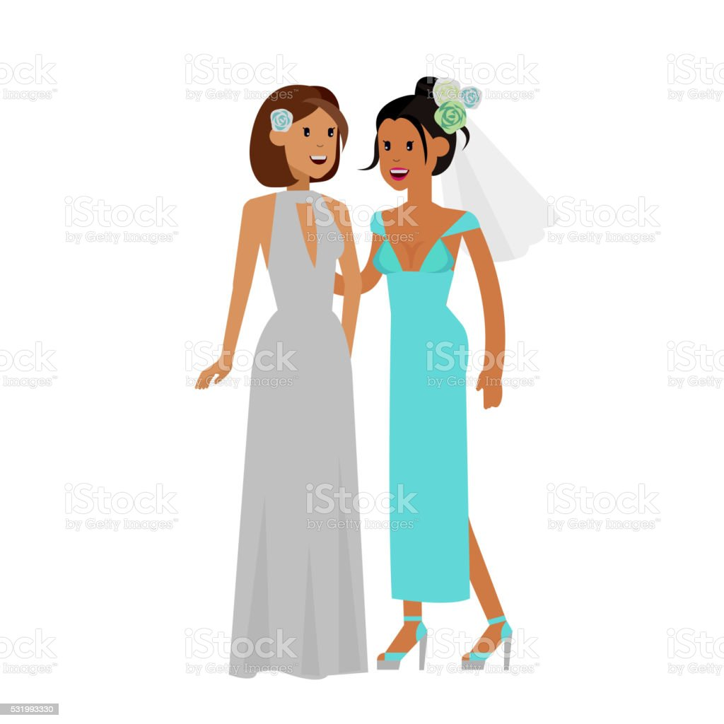 Nontraditional family. Happy cute wedding gay and lesbian vector art illustration