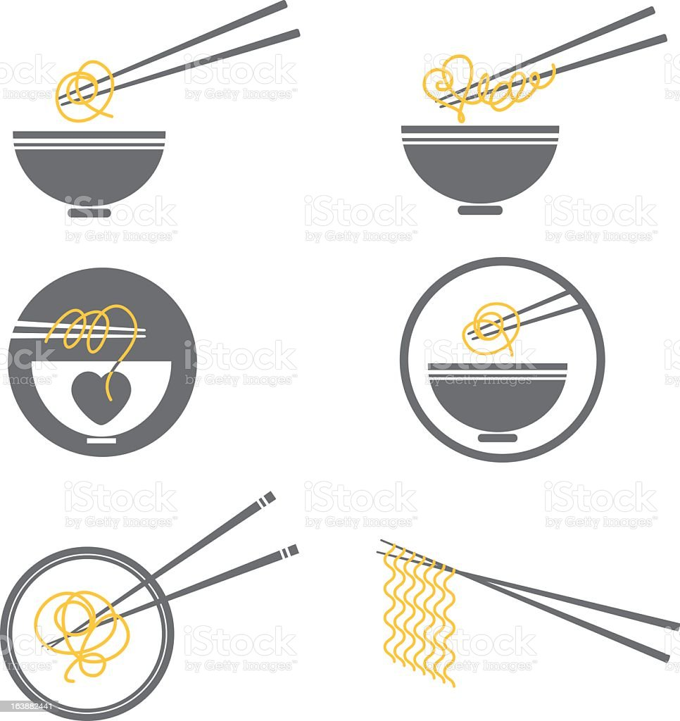 Noodle Bowl Icon Set vector art illustration