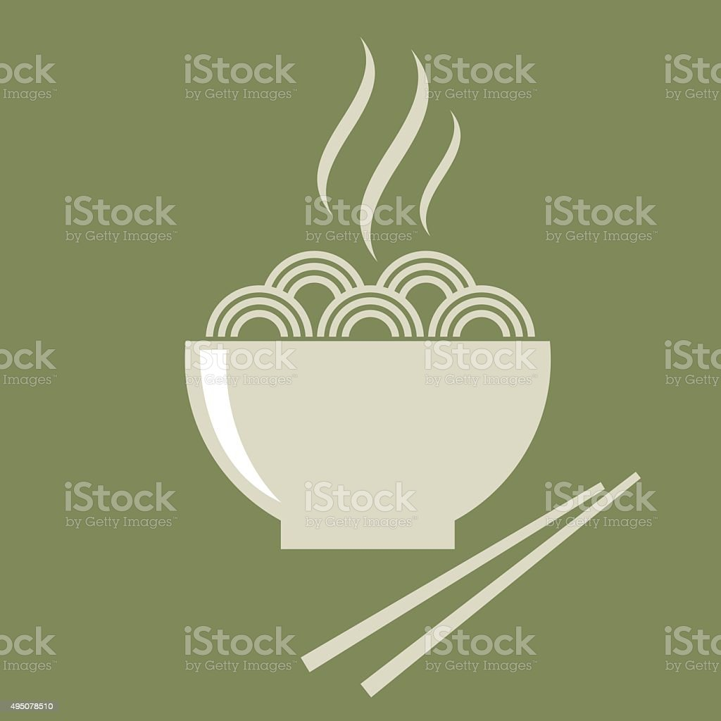Noodle Bowl icon vector vector art illustration