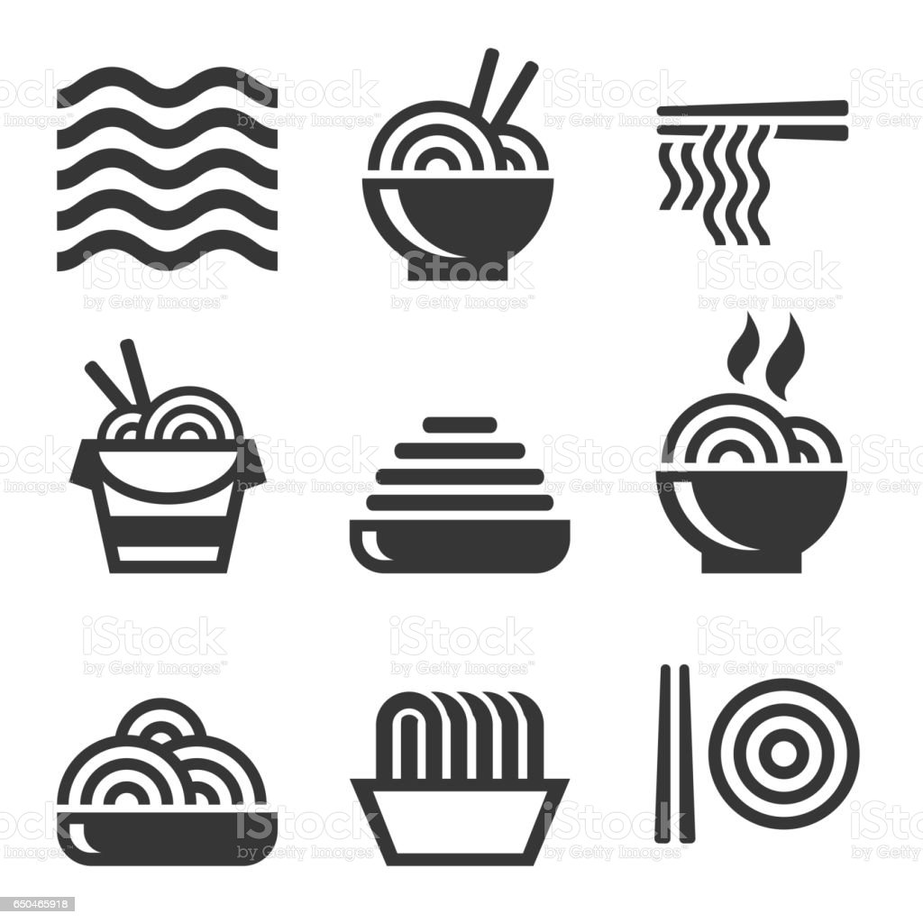 Noodle Icons. Asian Food. Vector vector art illustration