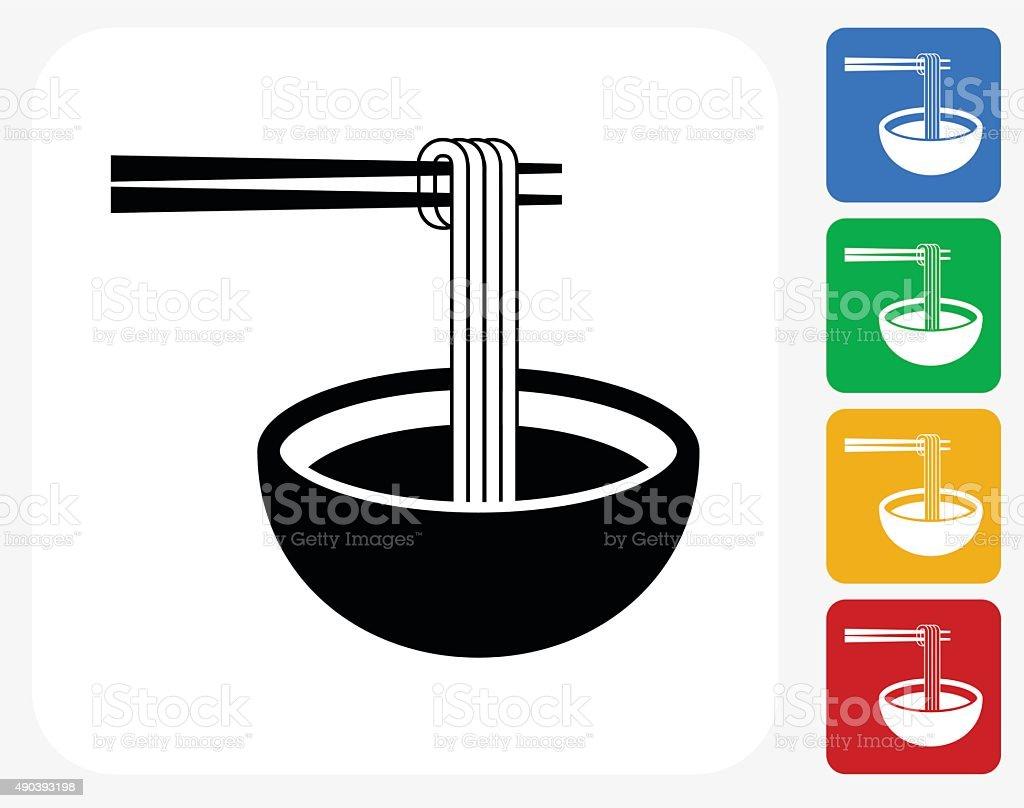 Noodle Soup Icon Flat Graphic Design vector art illustration