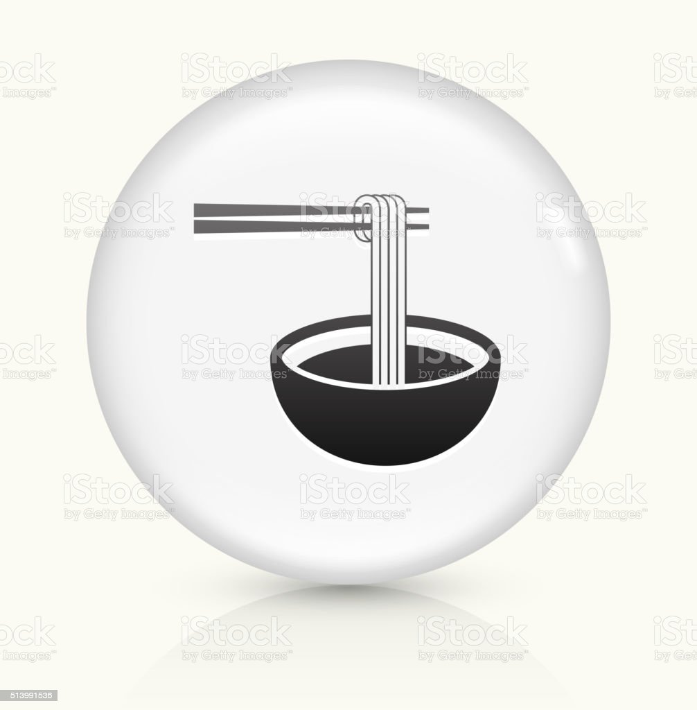 Noodle Soup icon on white round vector button vector art illustration