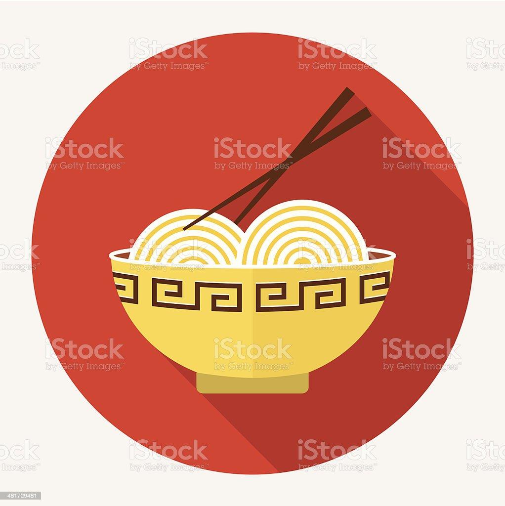 Noodles flat icon vector art illustration
