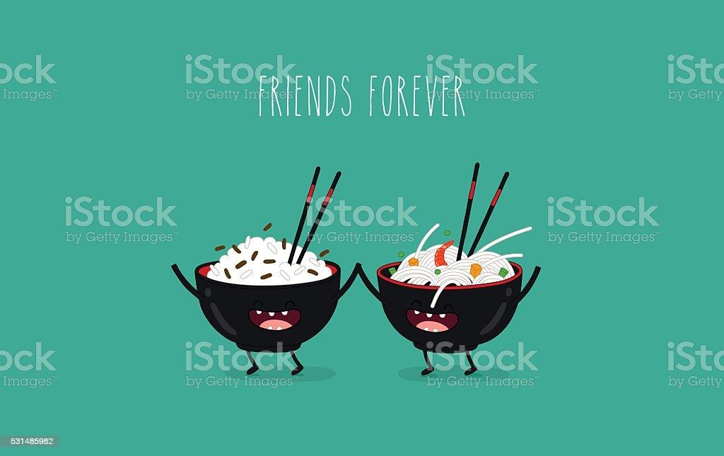 noodles vector art illustration