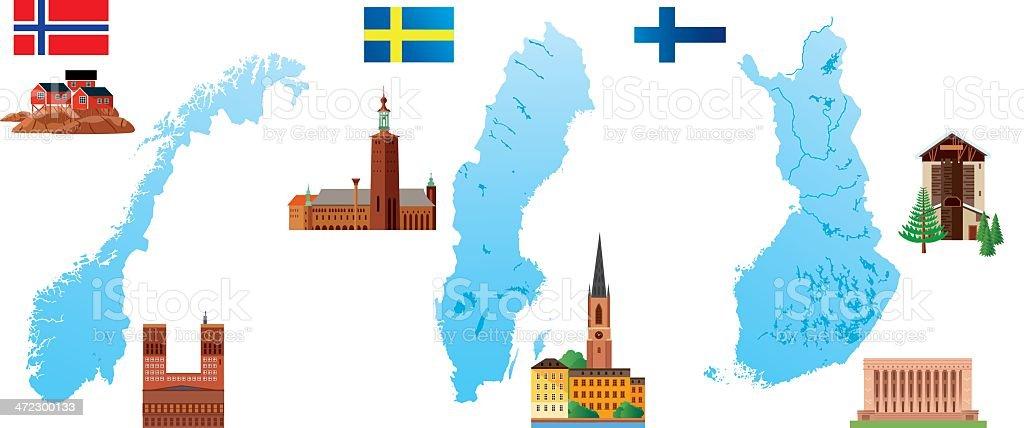 Nordic Countries vector art illustration