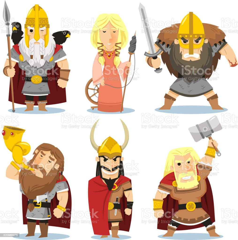Nordic Gods Norse Mythology Thor Odin Freyja Freyr Loki Tyr vector art illustration