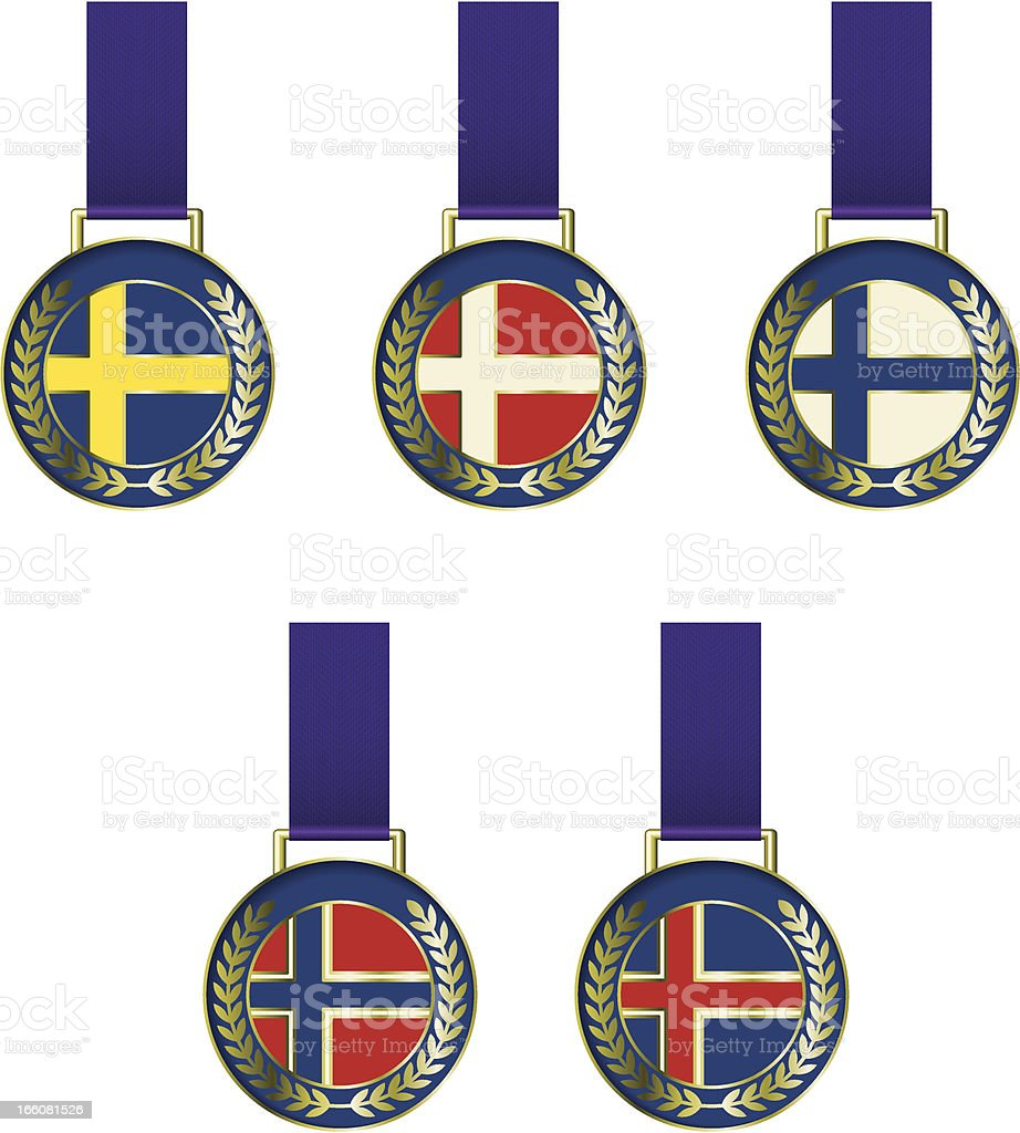 nordic medals royalty-free stock vector art