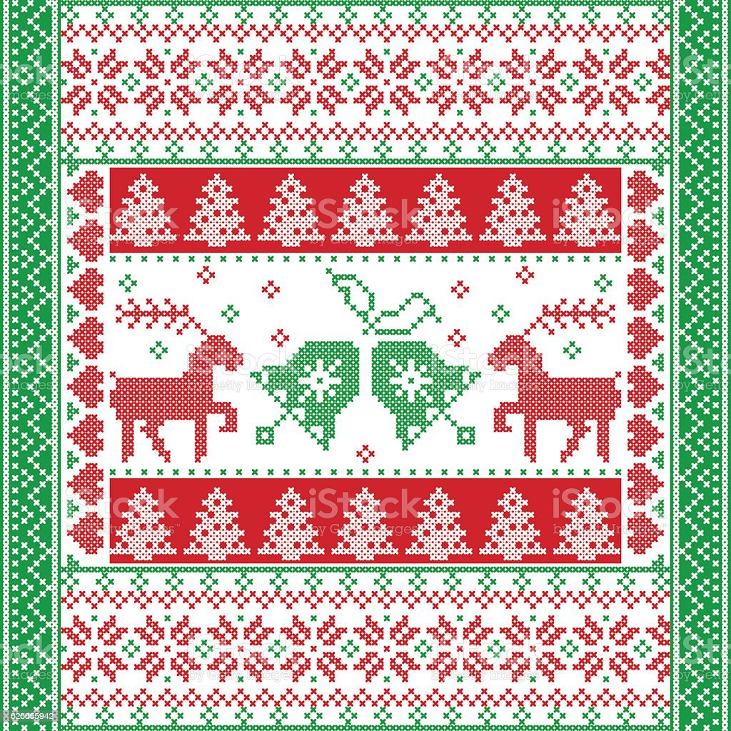 Nordic square Christmas pattern with reindeer, Christmas tree, snowflake vector art illustration