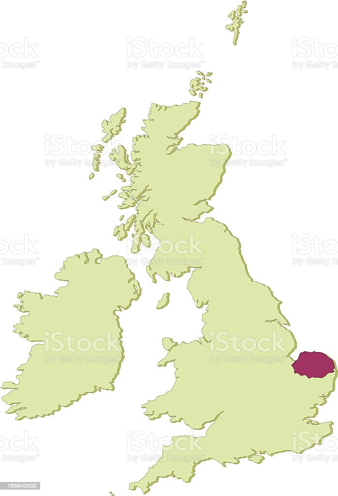 UK Norfolk map vector art illustration