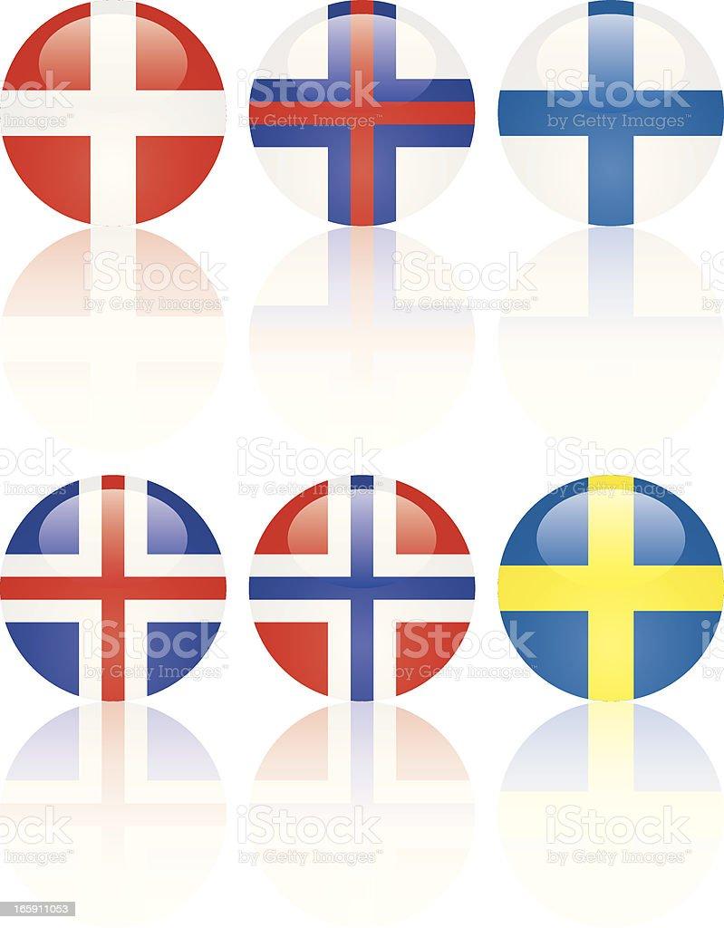 Norse Flag Glass Balls vector art illustration