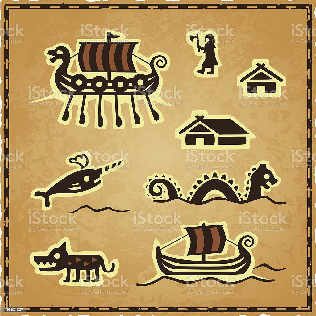 Norse Map Icons royalty-free stock vector art
