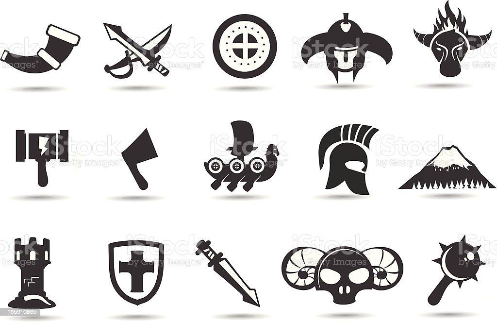 Norse Viking Icons vector art illustration