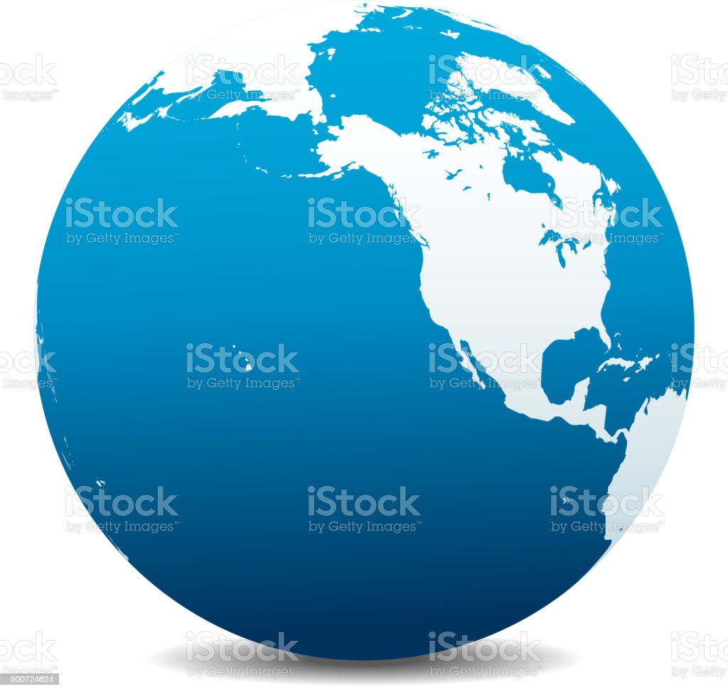 North America, Canada, Siberia and Hawaii Global World vector art illustration