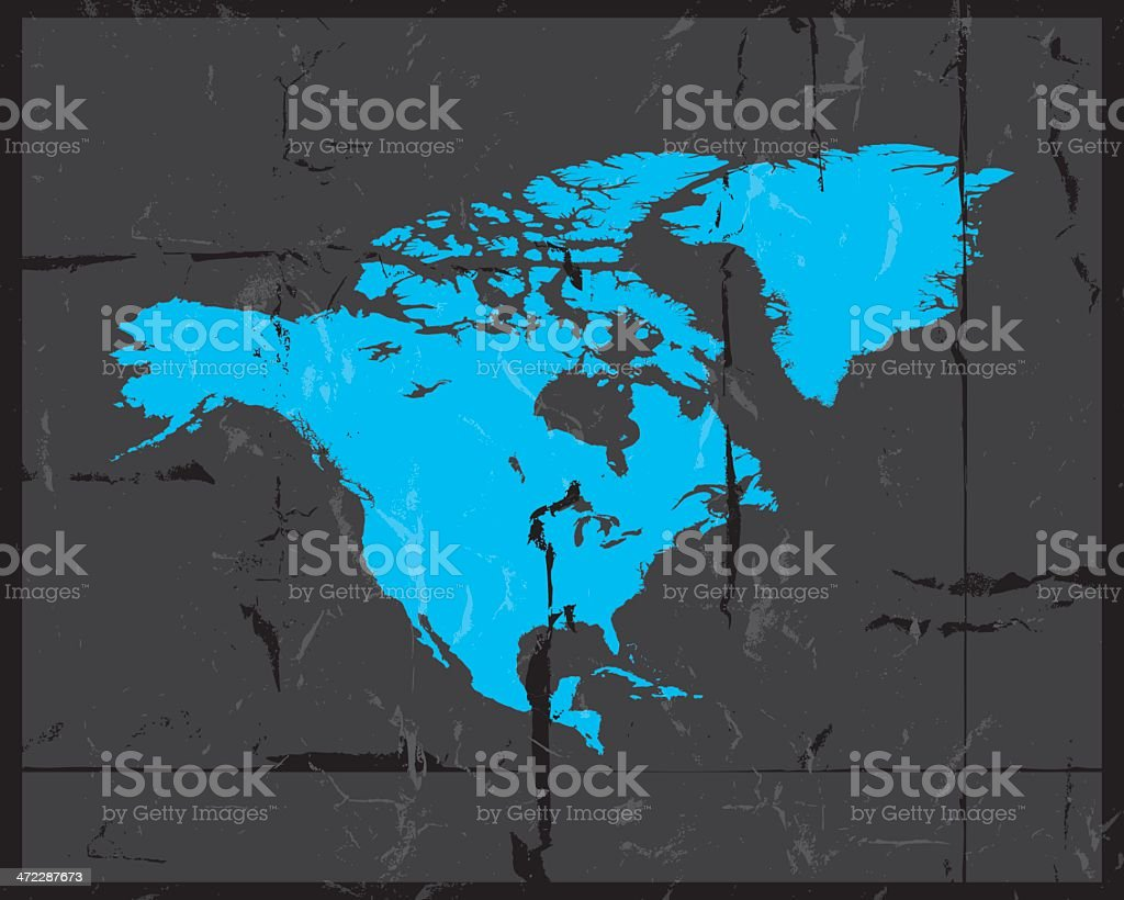 North america detailed map grunge style royalty-free stock vector art