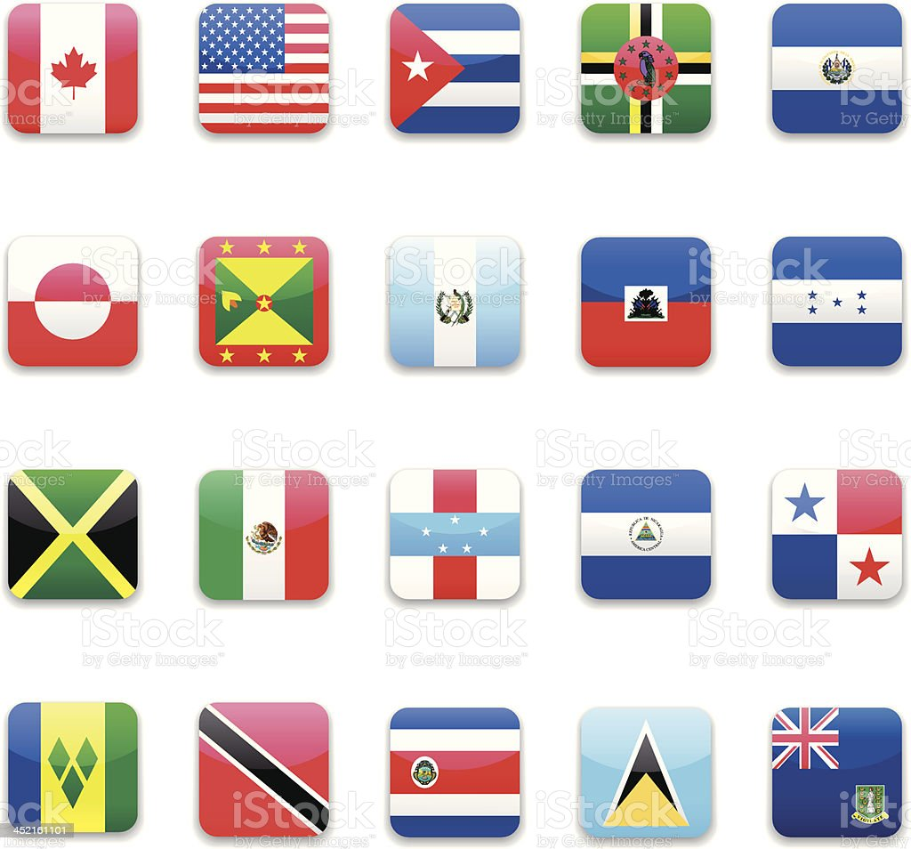 North America flag icon set royalty-free stock vector art