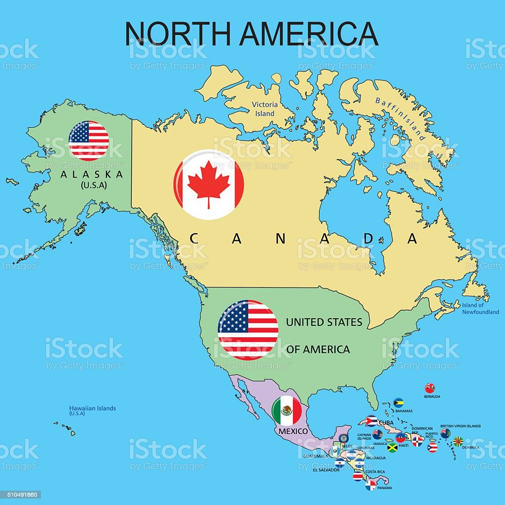 North America Flags On The Map Stock Vector Art  IStock - Map of america 1860