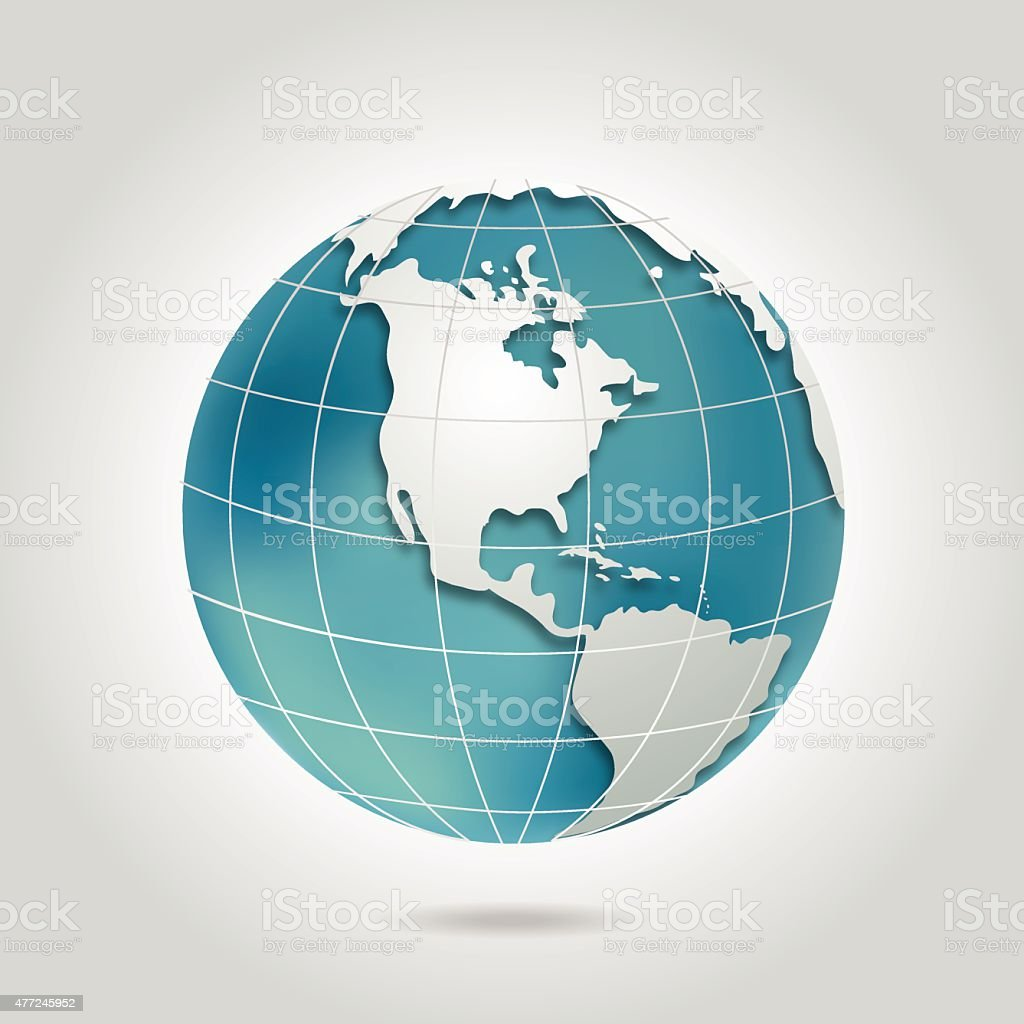 North America Globe With Shadow In Teal Blue and Grey vector art illustration