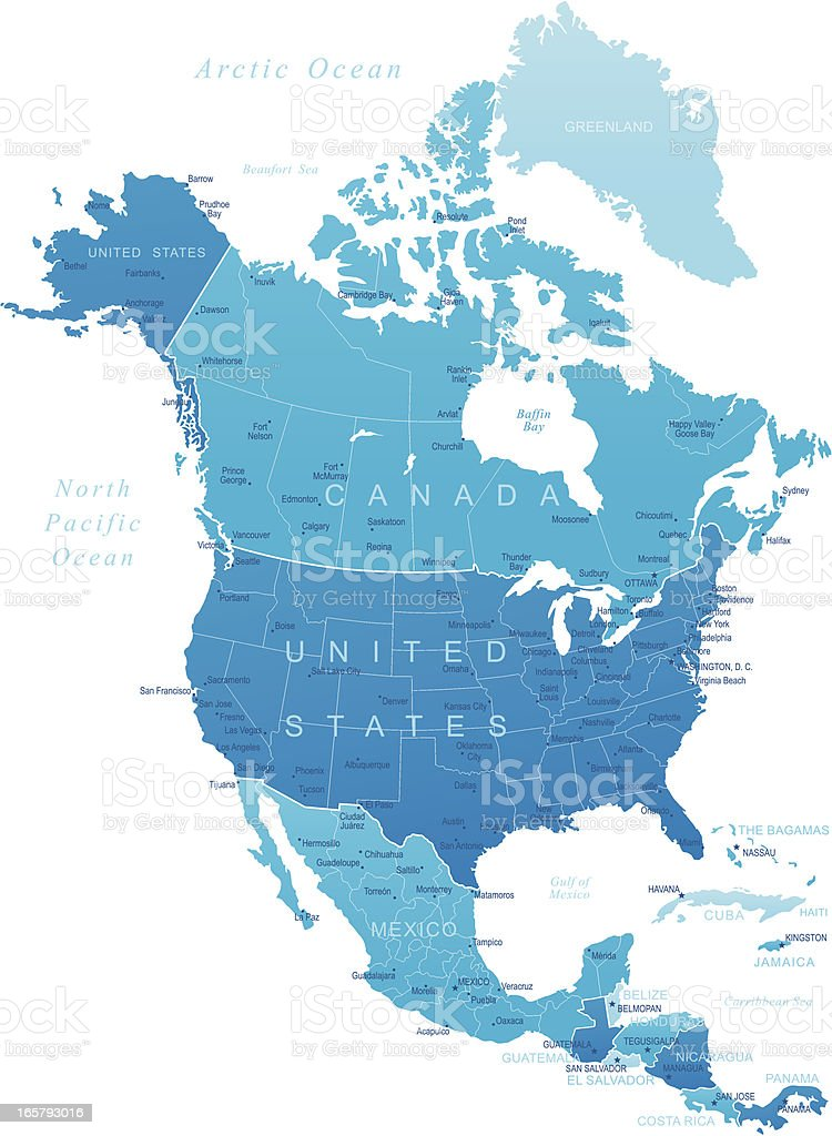 North America - highly detailed map vector art illustration