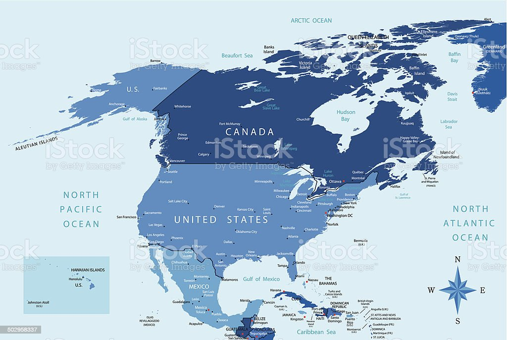 North America - highly detailed map royalty-free stock vector art