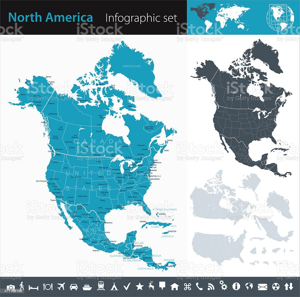 North America - Infographic map - illustration vector art illustration