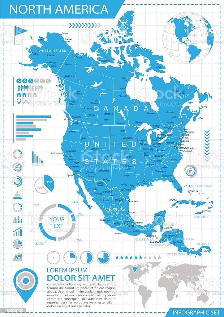 North America - infographic map - Illustration vector art illustration