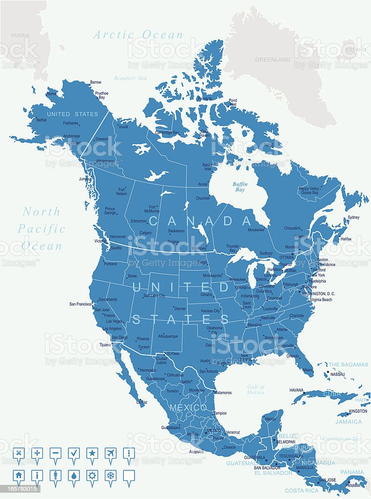 North America - map and navigation icons vector art illustration