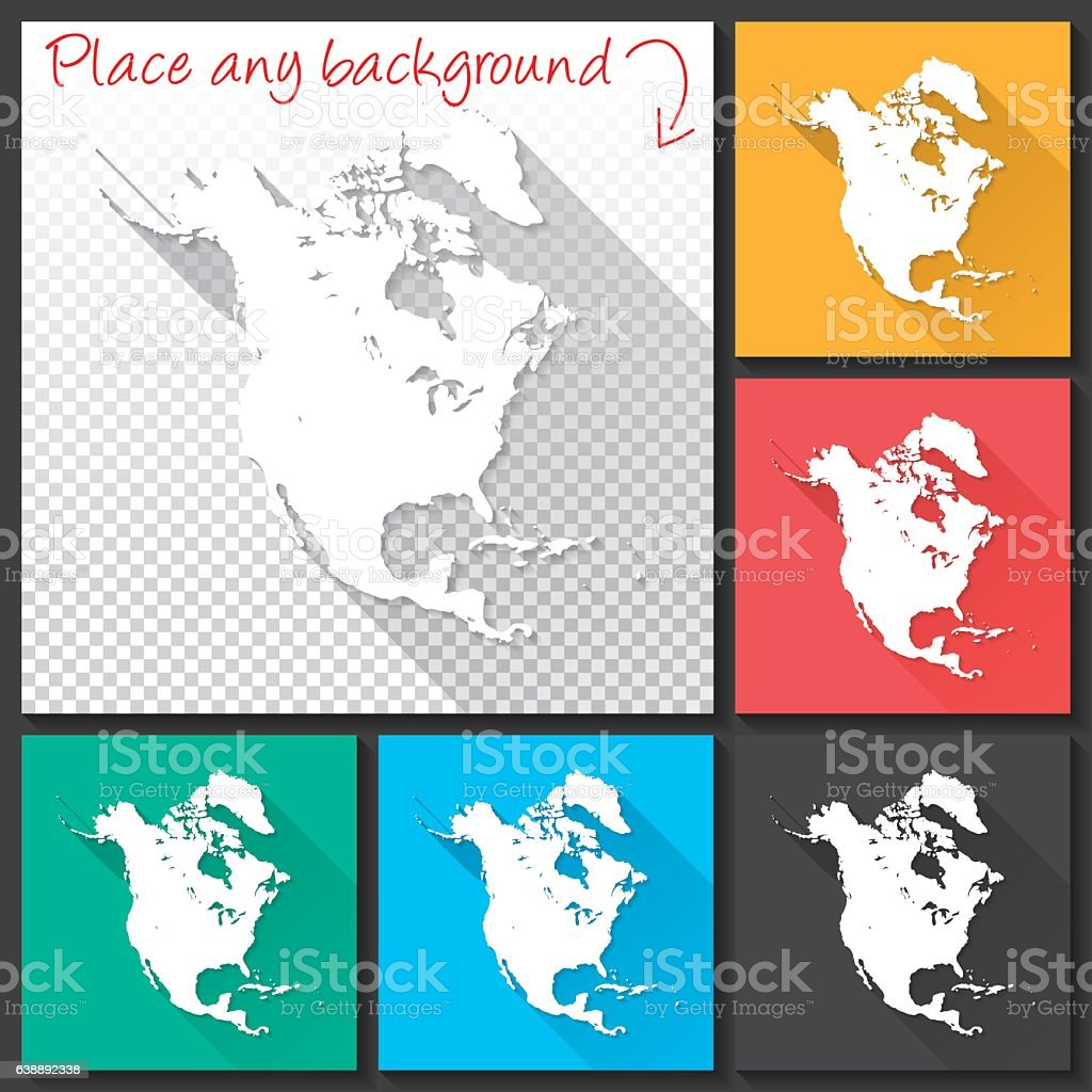 North America Map for design, Long Shadow, Flat Design vector art illustration