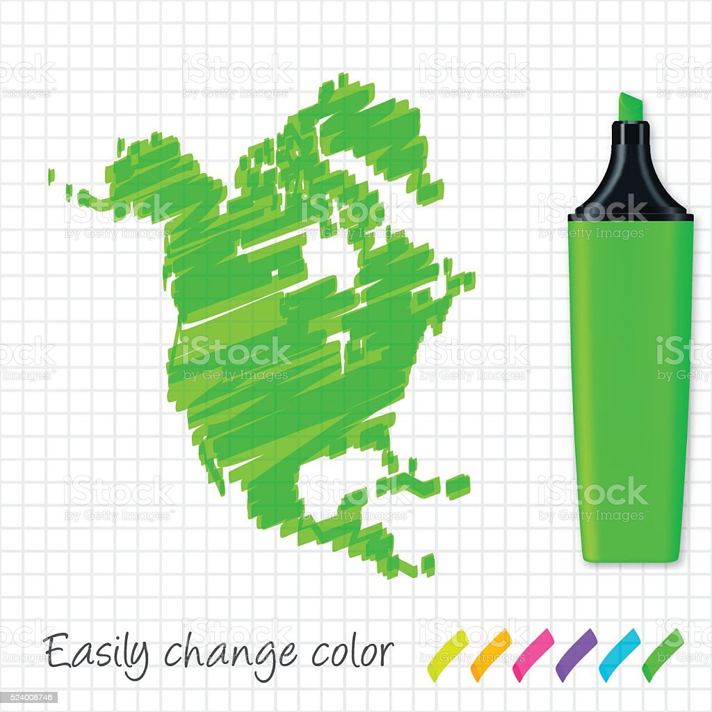 North America map hand drawn on grid paper, green highlighter vector art illustration
