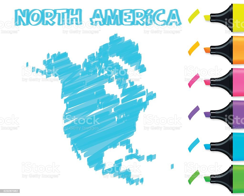 North America map hand drawn on white background, blue highlighter vector art illustration