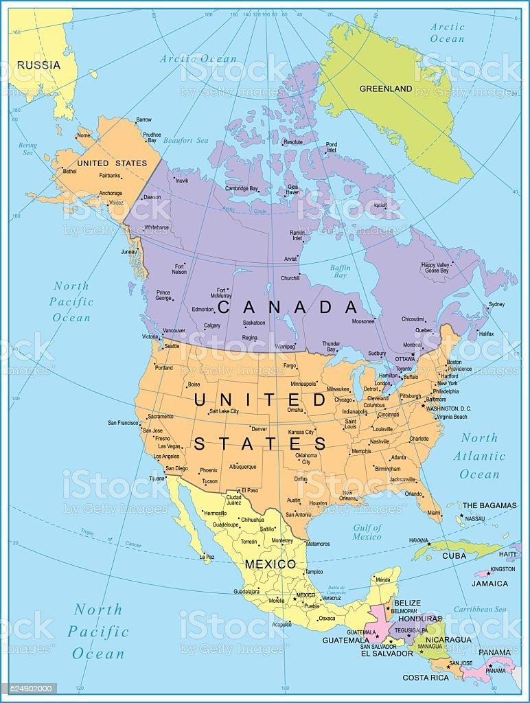 North America Map - illustration vector art illustration