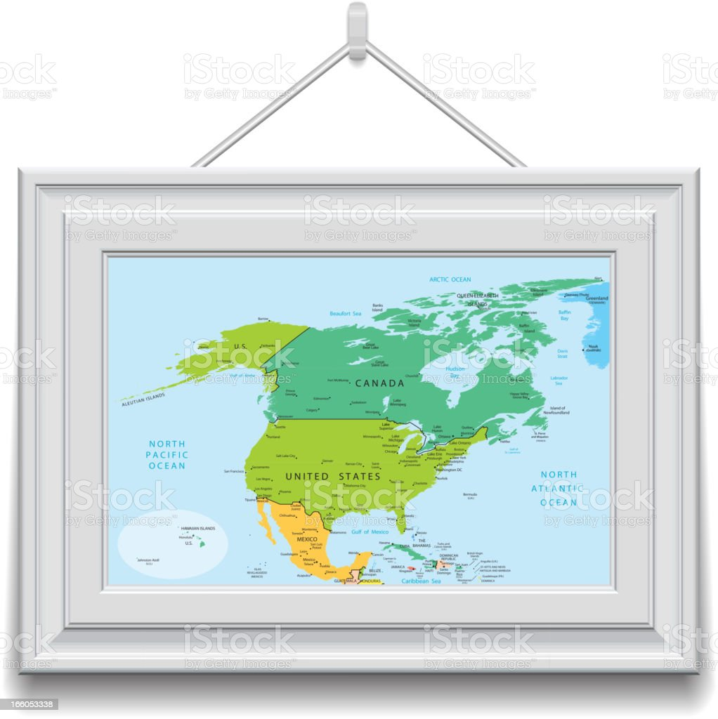 North America map in a frame royalty-free stock vector art