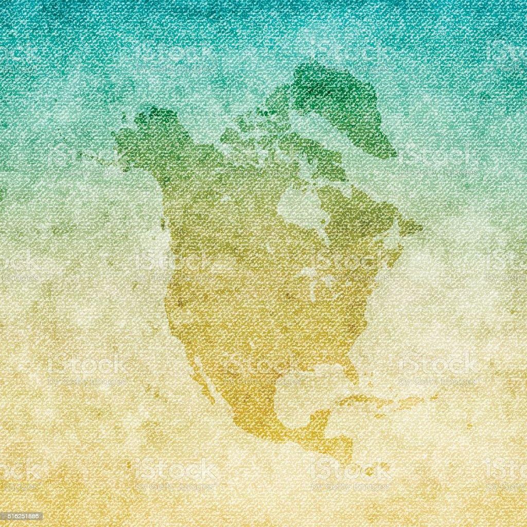 North America Map on grunge Canvas Background vector art illustration