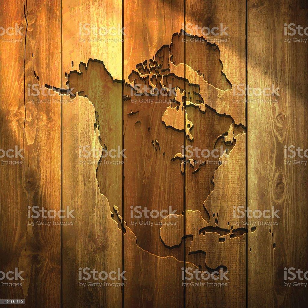 North America Map on lit Wooden Background vector art illustration