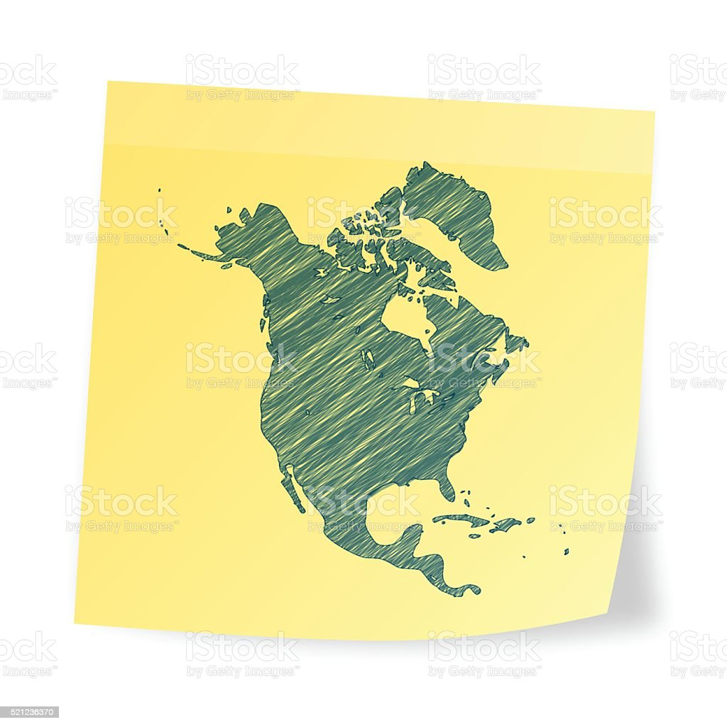 North America map on sticky note with scribble effect vector art illustration