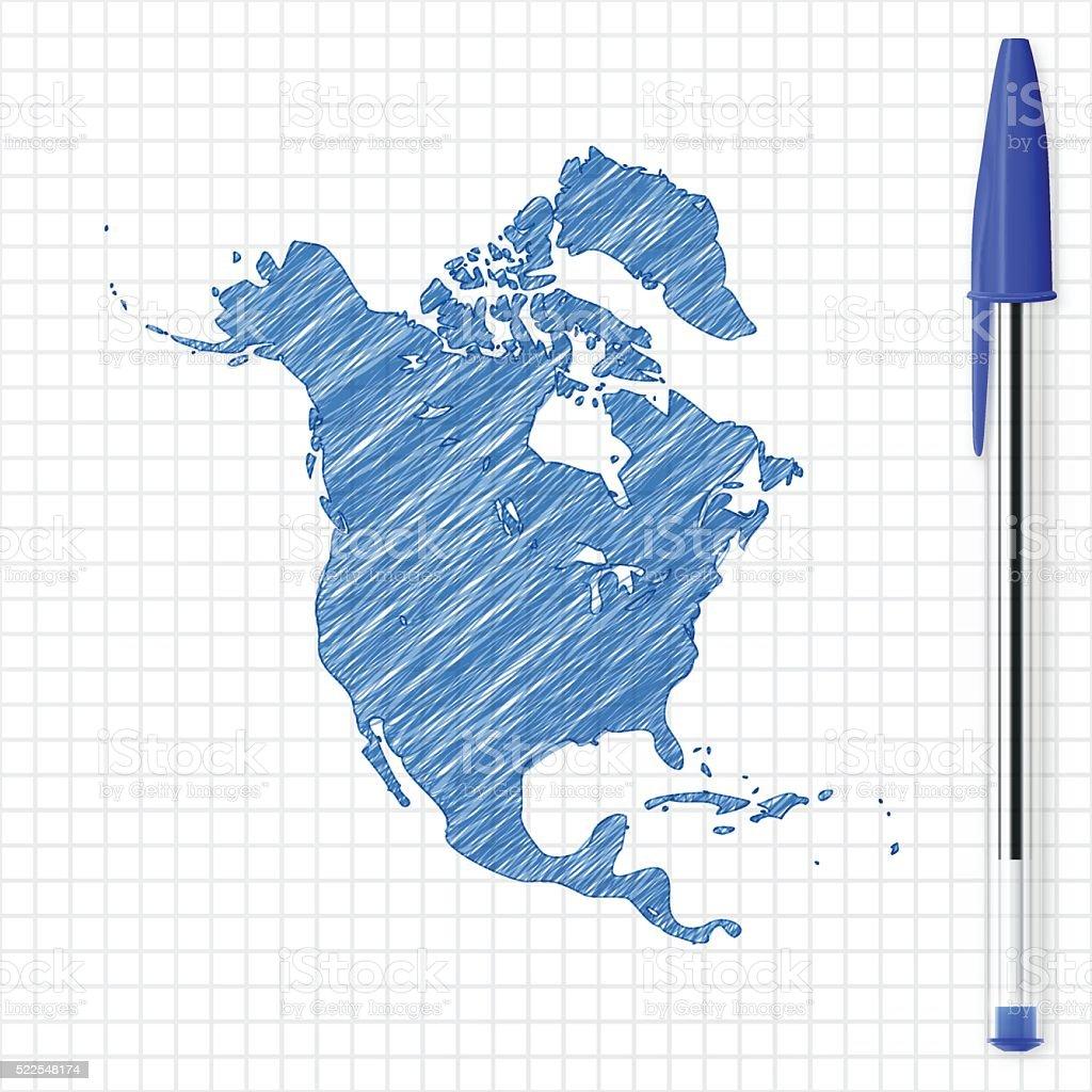North America map sketch on grid paper, blue pen vector art illustration