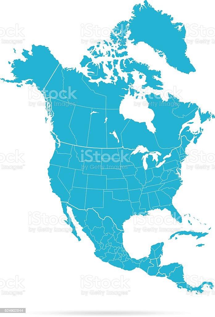 North America Map vector art illustration