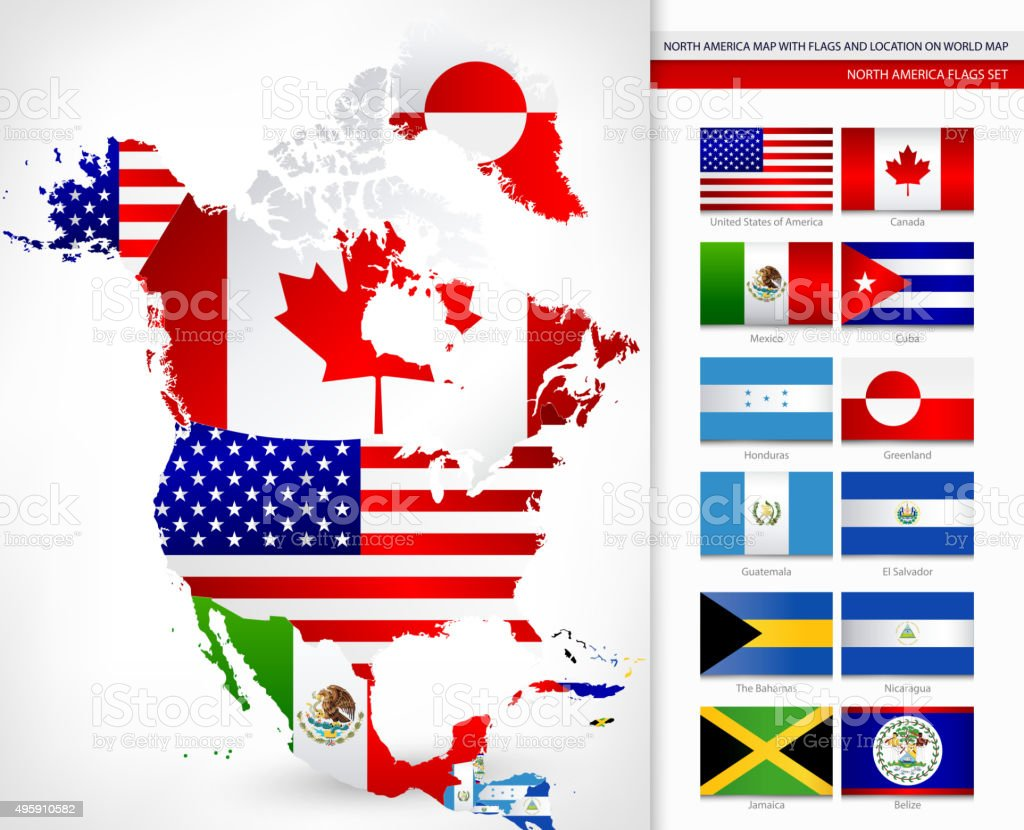 North America Map with Flags vector art illustration