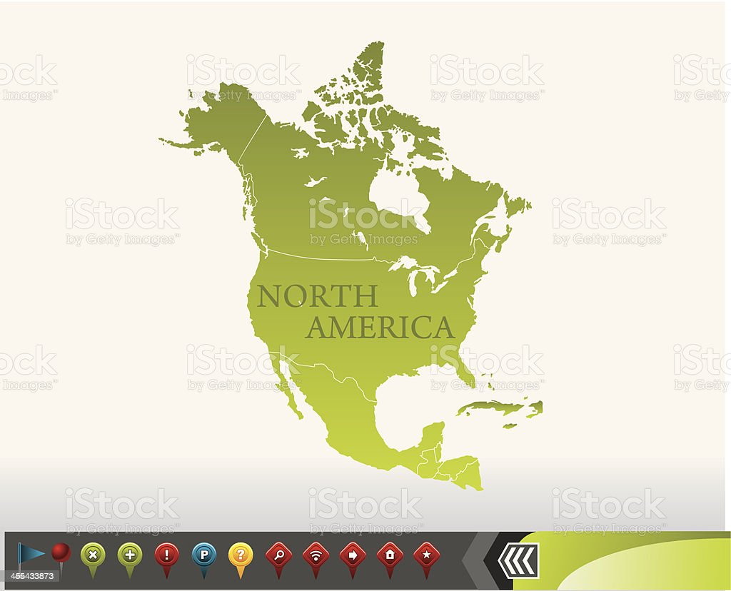 North America map with navigation icons royalty-free stock vector art