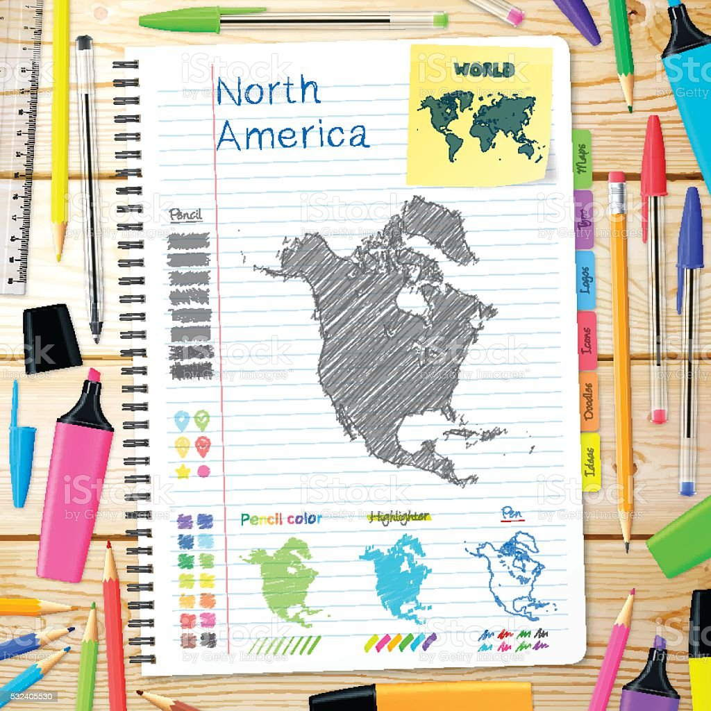 North America maps hand drawn on notebook. Wooden Background vector art illustration