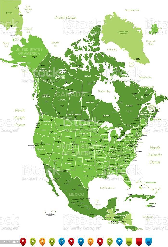 North America Map-Vector Illustration vector art illustration