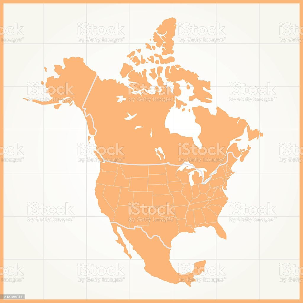 North America orange map on grid background vector art illustration