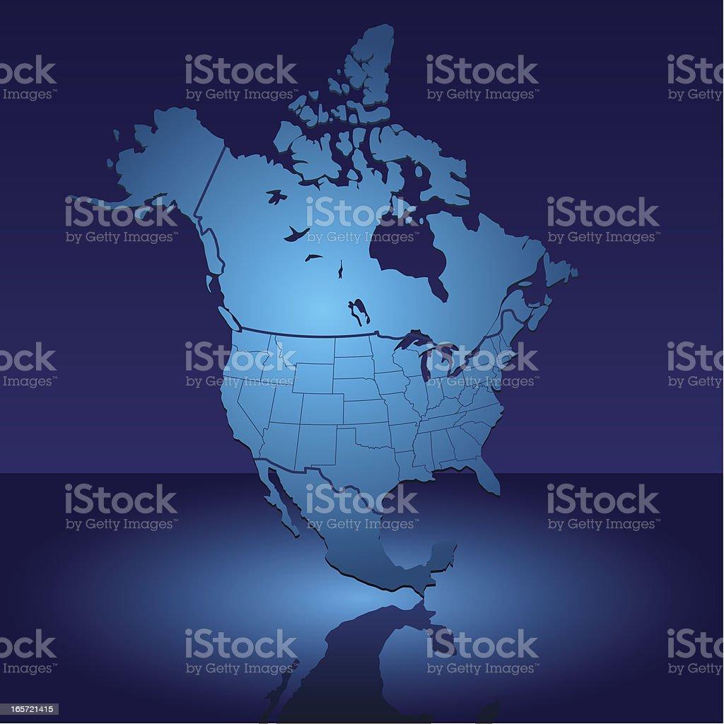 North America Shiny Blue Map royalty-free stock vector art